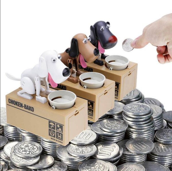 Cartoon Dog Model piggy bank Eat Bank Money Save Pot Saving Coin Box I Love money piggy bank Coin Box Creative Gift KKA2656
