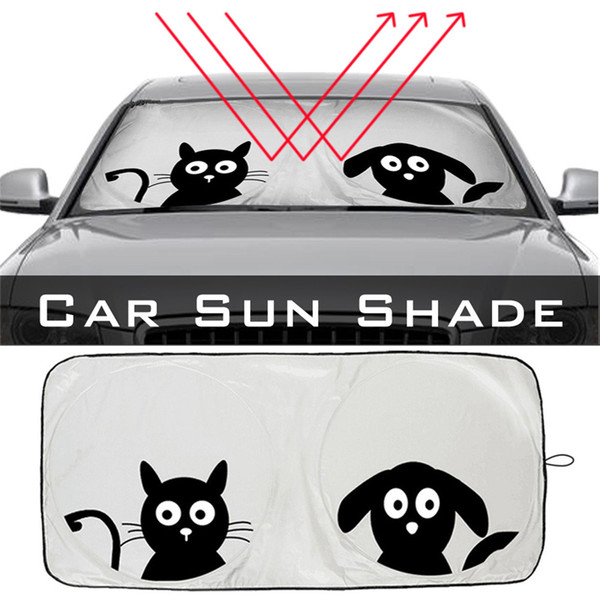Universal Folding Jumbo Front Cartoon Car Window Sunshade Auto Sun Visor Windshield Block Cover