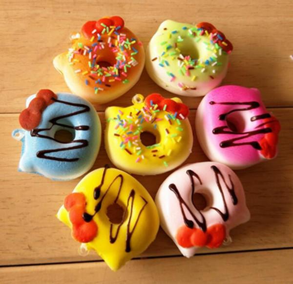 Free Ship 30pcs 5CM PU Cute Bow Donut Cartoon Squishy Bread Food Charm Cell Phone Straps Fashion Squishies Pendant Chirstmas Gift