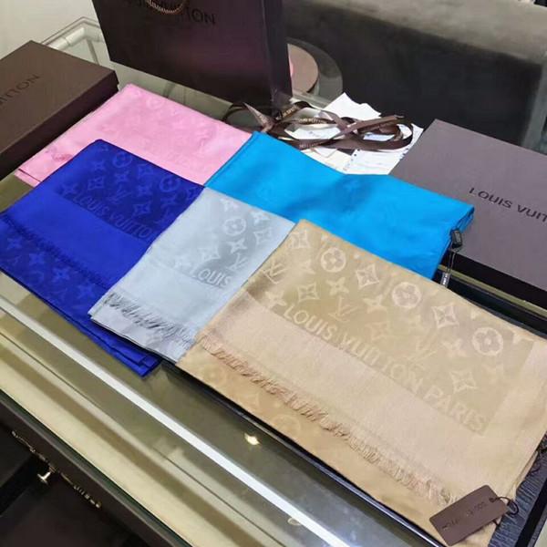 Usine prix marque conception femme écharpe en soie de cachemire impression de lettres écharpes Wrap châle 180 * 70CM