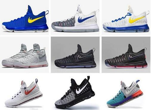 2016 Hot Sale KD 9 Mens Basketball Shoes KD9 Oreo Grey Wolf Kevin Durant 9s Men's Training Sports Sneakers Warriors Home US Size 7-12