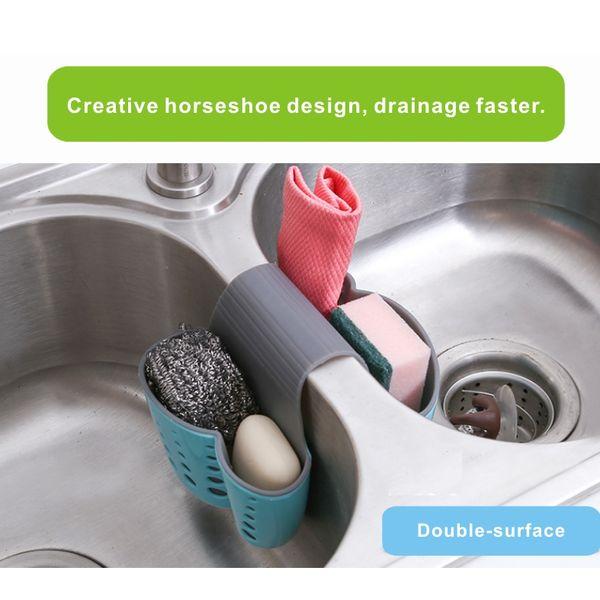 Doble Sink Caddy Saddle Style Organizador de la cocina Storage Sponge Holder Rack Tool, Storage Rack Hanging Box, Fregadero Plastic Box.