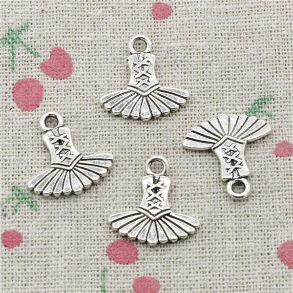 100pcs Charms Antique Silver ballet dress tutu ballerina 17*17mm Pendan Zinc Alloy Pendant DIY Makeing Jewelry Bracelet Necklace Fittings