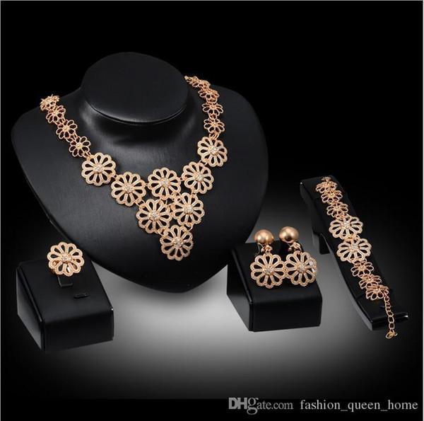 12set Talian Mode V-förmige Halskette Design Dubai vergoldet Schmuck Sets Braut Hochzeit Gold Halskette Armband Ohrringe Ring F10334