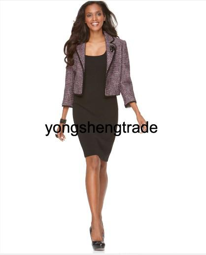 High Quality Women Clothing Custom Made Women Suit Perfect For Any Occasion cashmere Jacket+ Black Woolen Dress