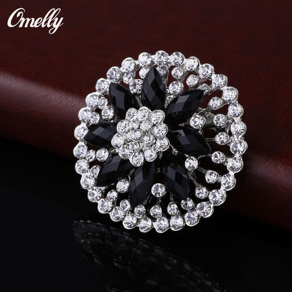 Black Luxury Flower Crystal Brooches Pins Jewelry Wedding Brooch Bouquet Christmas Brooches Jewelry Wholesale in Bulk