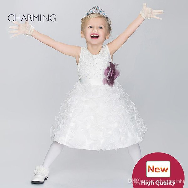Toddler glitz pageant dresses Kids design clothes Flower girl dress ivory high quality Pageant dresses for girls China suppliers