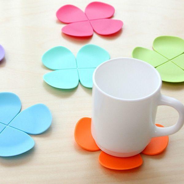 500pcs 3D Mixed Colors Flower Petal Shape Cup Coaster Tea Coffee Cup Mat Table Decor Durable Pretty Drink
