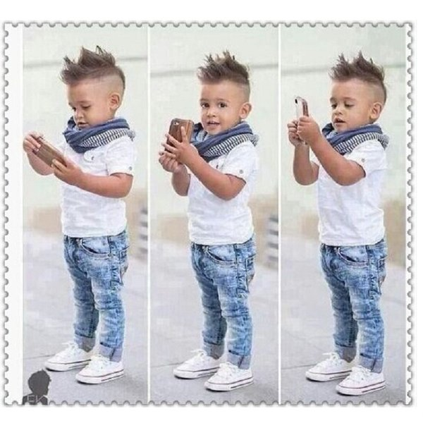 Fashion Baby Boy 3-Pieces Clothes Sets Children Shirt + Jean + Scarf Suit Boys Outfits Kids Clothing Casual Infant Clothing Pant White Tops