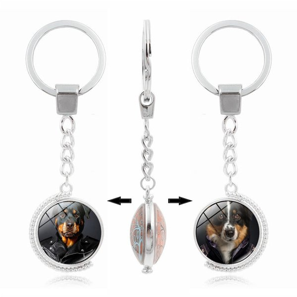 Hot sale New Hot Key Chain Cute Dog Time Gem Double Side Rotary Keychain Custom KR222 Keychains mix order 20 pieces a lot