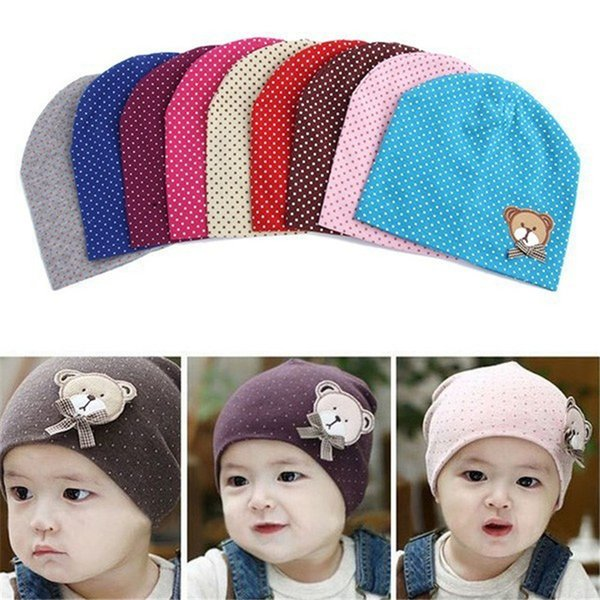 Baby Hat 2016 Spring Baby Cap Kids Costume Cotton Dot Beanie Cartoon Bear Infant Girls Boys Cap Baby Hats Accessories