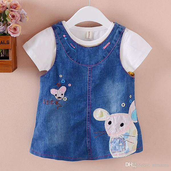 Summer Style Infant Blue Dress Baby Girls Clothing Short Sleeve Cute Mouse Cowboy Strap Dresses Childrens Dresses For Kids Free Shipping