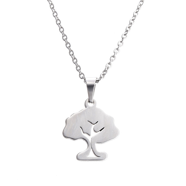 EVERFAST Fashion New Stainless Steel Necklace,Cute Big Tree Pendant Women Chokers Statement Necklace Lucky Gift SN013