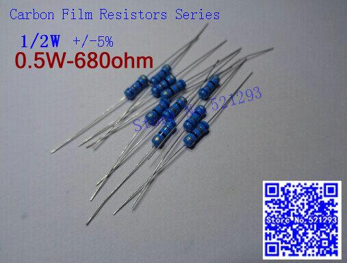 Wholesale- 1 / 2W 680 ohm 680R resistenza 5% 1 / 2w 680 ohm resistore a film di carbonio / resistenza dell'anello di colore 0.5W (100pcs / lot)