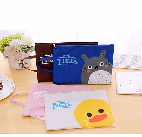 cartoon A4 Bag Fabric File Folder For Documents Stationery bag 33*24cm Document Bag School Suppliers A4 File Free shipping