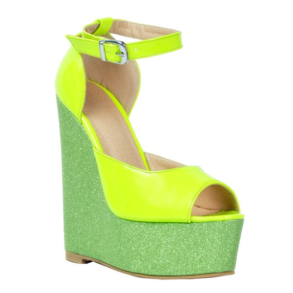 Kolnoo Womens Fashion Handmade 15cm Wadge Heel Patchwork Leather Peep Toe Pumps Party Shoes Green XD113