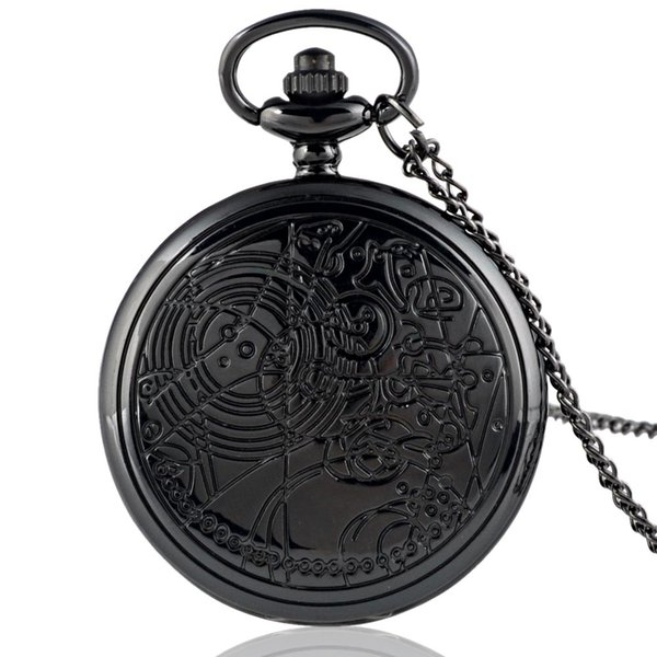 Unique Doctor Who Pendant Antique Pocket Watch Mens Women Steel Quartz Fob Watches Vintage Necklace Chain Retro Clock DIY Gifts