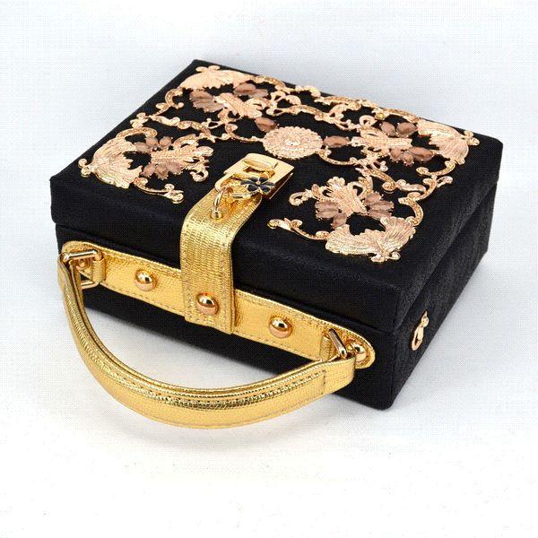 Luxury diamond Crystal carve hollow Magic Box Mini Suitcase lock retro fashion design flap women handbag Black shoulder bag Z913