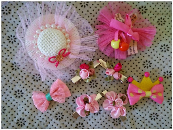 Y50 2PCS/LOT Cute Pet hair clips Lovely Puppy Dogs Cats Grooming Accessories Hairpins Brand New DIY Dog Hair Bows for Teddy