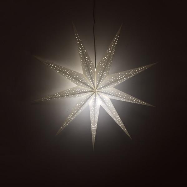 Novo 75 cm Festa de Papel Decorativo Estrela Luzes Brancas 9 Pontos Estrela Lanterna Lanterna para o Festival de Natal celebração