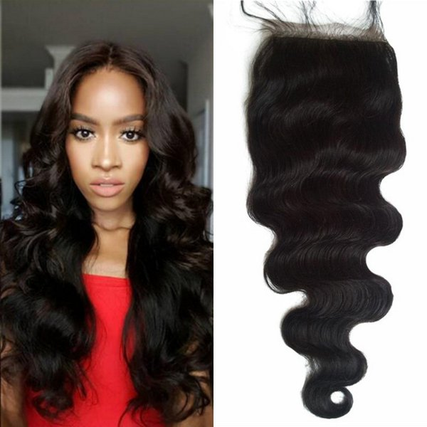 Silk Base Closure with Baby Hair Body Wave Indian Non-remy Human Hair Natural Color Silk Closures FDSHINE