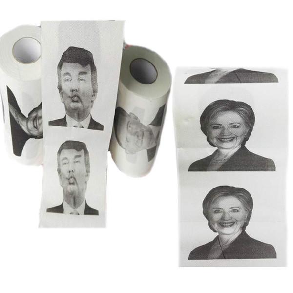 100pcs Hillary Clinton Donald Trump Barack Obama carta igienica novità divertente carta igienica regalo bavaglio