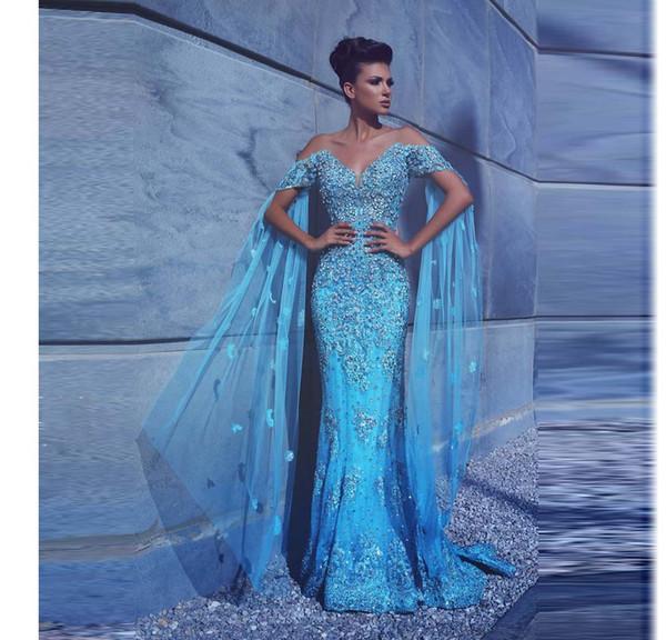 Lindo Azul Sexy Vestidos de Baile Com Mangas Curtas Major Frisada Apliques Sereia Vestidos de Noite Árabe Ocasião Especial Vestido Desgaste da Noite