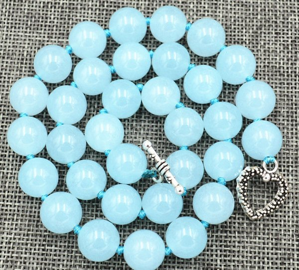 "New 12mm Brazil Natural light blue Aquamarine gem Necklace 18"" Tibetan silver love clasps"