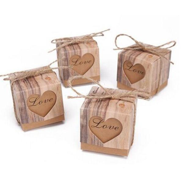 Kraft Paper Candy Box Heart Hollow Love Gift Boxes Wedding Party Decoration Faovrs Baby Shower 50 pcs/lot New