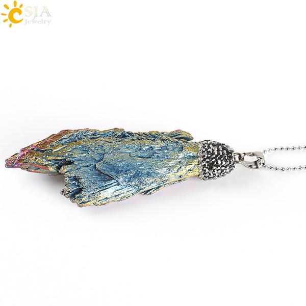 Encantos CSJA natural del arco iris cruda Piedra Titanio Energía de turmalina colgante de collar de perlas claro del Rhinestone joyería de las mujeres de los hombres de Reiki E307 regalo