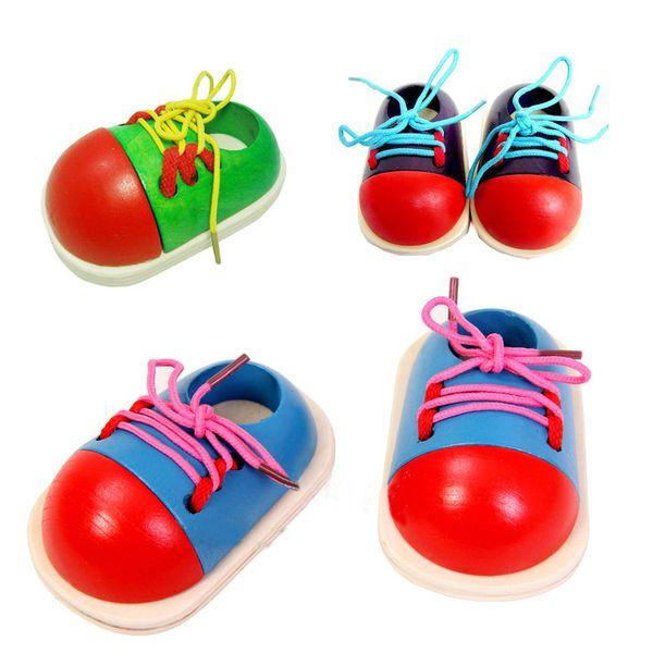 Wholesale- 1 Pcs Random Kids Montessori Educational Toys Children Wooden Toys Toddler Lacing Shoes Early Education Montessori Teaching Aids