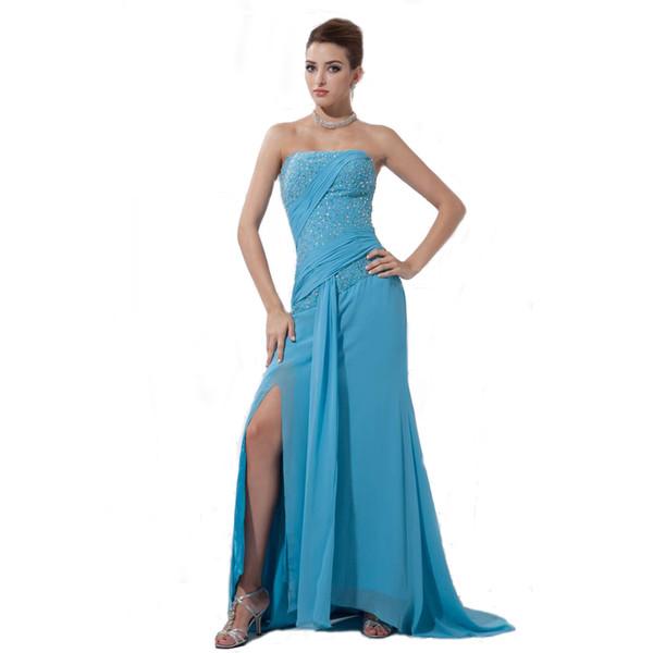 Elegant Women Long Dress Off Shoulder Beaded Style Sexy Split Latest Design Chiffon Evening Gown Exclusive Design