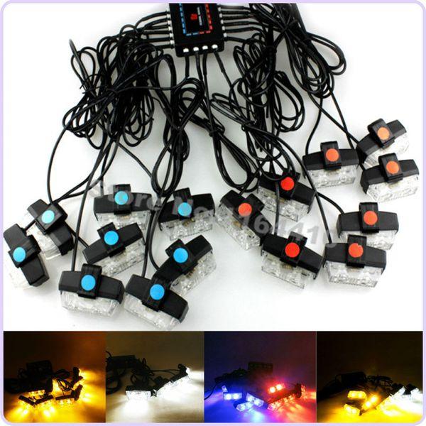 Alta potenza 32 LED Strobe Spia luminosa Beacon 8 Modalità lampeggianti Lampada di emergenza Grill Rosso / Blu Ambra / bianco Ambra Bianco 4 colori