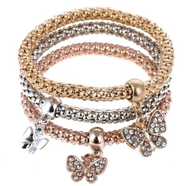 3pcs/set Europe America Bridesmaid Bracelet Famous Jewelry Butterfly Dangle Crystal Charm Bracelets & Bangles for Women
