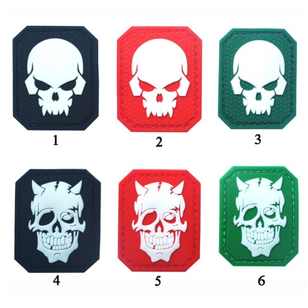 best selling Glow In Dark Skull Tactical Morale Patch Emblem Hook & Loop Army PVC Badge Morale Rubber Patch Appliques free ship