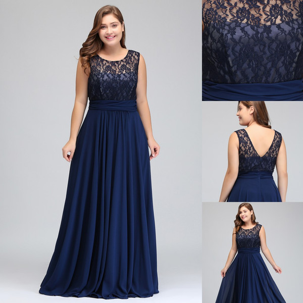 ae3d2d90236 Plus Size Simple Modest Dark Navy Chiffon Bridesmaid Dresses 2017 Cheap  Scoop Sleeveless A Line Formal