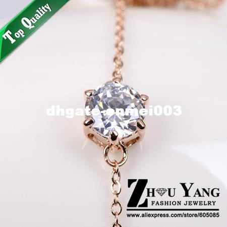 Top Quality Six Claw Mosaic Rose Gold Color Anklets Jewelry Austrian Crystals Wholesale ZYA007 ZYA011