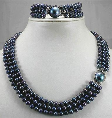Wholesale cheap 3 row 6-7mm black/green/brown pearl shell clasp wedding necklace bracelet set