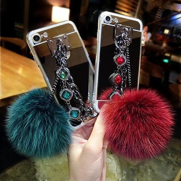 For Samsung galaxy note 4 5 8 A5 A7 A8 2018 Luxury Fashion Diamond Bracelet chain Fox soft pompom fur ball mirror case cover