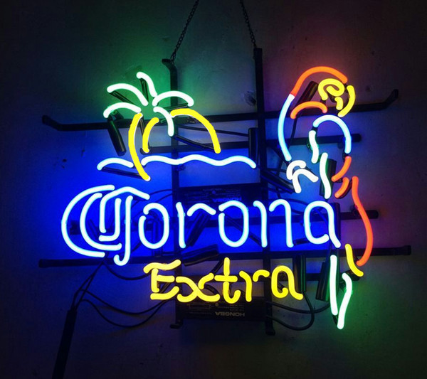 """17""""x14"""" CORONA EXTRA PARROT HANDCRAFTED CUSTOM REAL GLASS TUBE NEON LIGHT BEER BAR PUB CLUB STORE DISPLAY SIGN"""