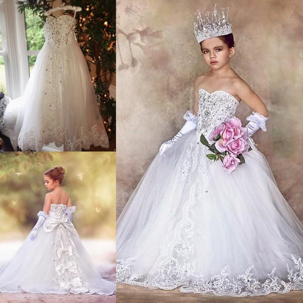 White Organza Beads Applique Lace Flower Girl Dresses For Wedding 2018 Sweetheart Sleeveless Shiny Kids Pageant Gown Queen Princess