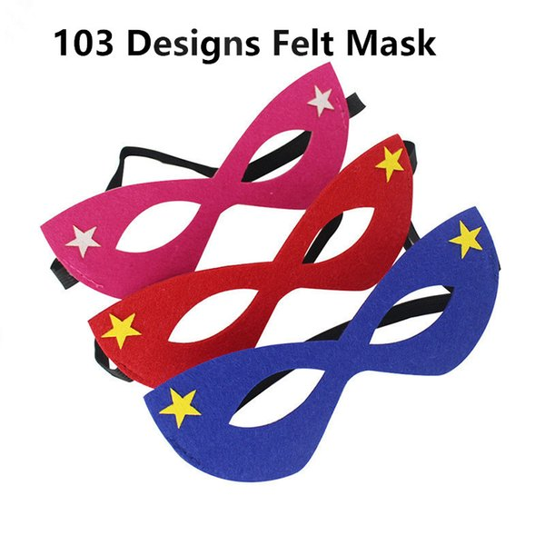 Halloween Cosplay Masks 122 Designs 2 Layer Cartoon Felt Mask Costume Party Masquerade Eye Mask Children Student Christmas Gift