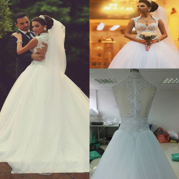 2017 Vintage Lace Ball Gown Wedding Dresses Arabic Sweetheart Beads Appliques Plus Size Wedding Dresses Back Zipper With Free Veil