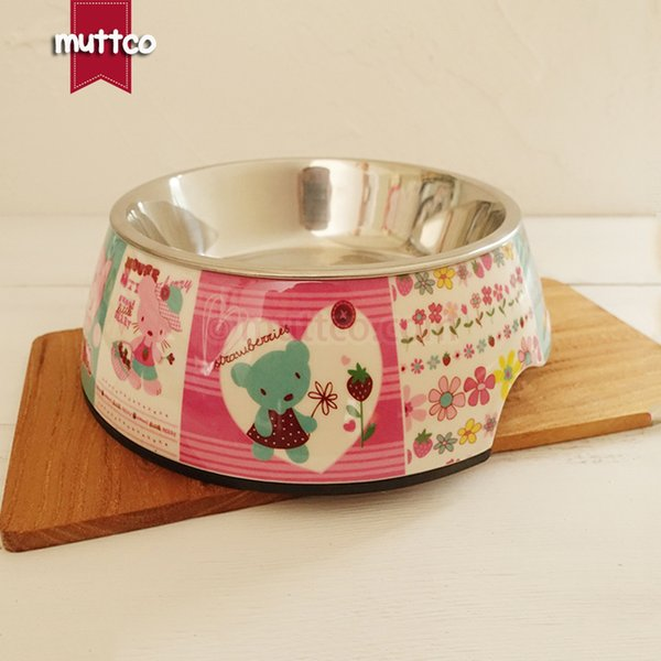 cute high quality detachable dual antiskid Stainless steel colorful bear dog dish bowl DB-009