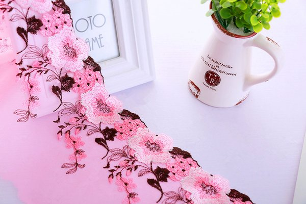best selling Fiber Flower Lace Trim Embroidery Sewing Fabric Ribbon DIY Garment Accessories 16cm Width for Women Dress Decoration