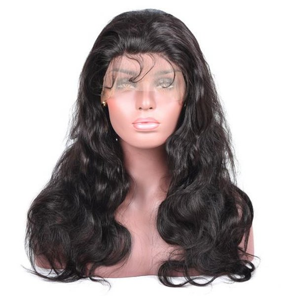 High quality 1b body wave human hair european virgin remy hair 150 heavy density lace front wig free part