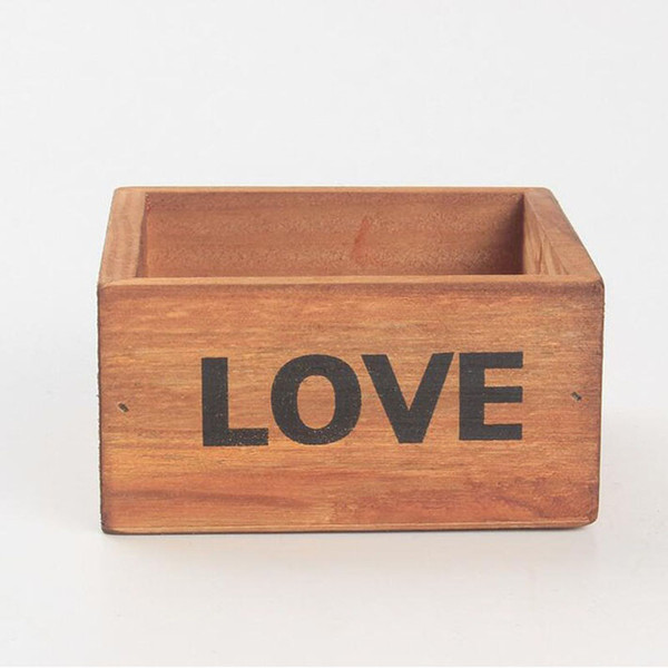 Rustic Natural Wooden LOVE Letter Succulent Plant Flower Bed Pot Box Home Garden Planter Free Shipping ZA4121