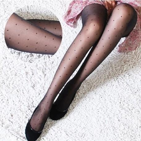 Wholesale- W720 New Fashion Black and white Women Pretty littile dot Style Pattern Jacquard super thin silk Pantyhose Tights wholesale