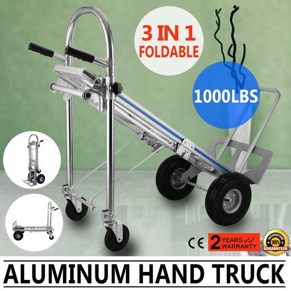 Aluminum Hand Truck 3 In 1 Folding Hand Trucks 1000LBS Convertible Hand Truck and Dolly Utility Cart Heavy Duty with Flat Wheels (3 in 1)
