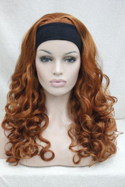 free shipping Charming beautiful New Super fashion sexy orange brown 3/4 wig with headband curly long half wig